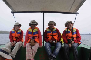 Enjoying a small rest while on the Mahakam River/Delta. TSOP Field Trip September 2015. Left to right: Julian Esteban Jaramillo Zapata, Astrid del Socorro Blandon Montes, Luis Dethere Caro Gonzalez and Yuegang Tang