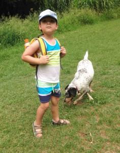 Micah and Santa, Maris Park, Fig Tree Pocket, Brisbane (February 2017)