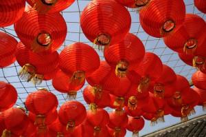 Chinese lanterns on a sunny morning, near Xuzhou.