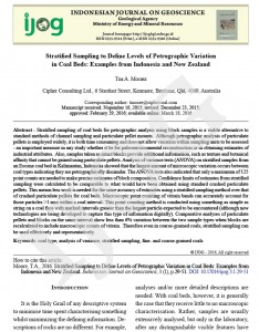 Paper in the Indonesian Journal on Geoscience on stratified sampling of coal
