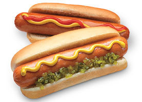 A type of sausage with pickel (image from: https://couponcravings.com/meijer-4-packs-of-oscar-mayer-hot-dogs-1-pack-of-buns-for-1/)