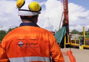 Cipher Associate Chris Nelson at drill site in Mozambique