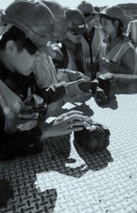 Students examine coal at Jeebropilly mine, Queensland