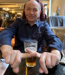 Marc Bustin saying 'NO' to warm beer