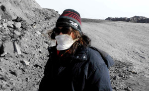 Aretha Christie (Cipher) assisting in sampling at a very cold coal mine in Inner Mongolia.