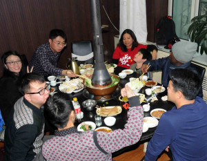Delicious hotpot after collecting samples in -16ºC conditions in Inner Mongolia.
